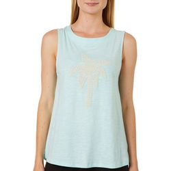 Juniper + Lime Womens Puff Print Palm Tree Sleeveless Top