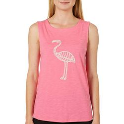 Juniper + Lime Womens Puff Print Flamingo Sleeveless Top