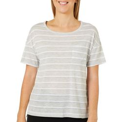Juniper + Lime Womens Glitter Striped Chest Pocket Top