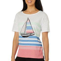 Juniper + Lime Womens Striped Sailboat Top