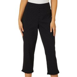 Juniper + Lime Womens Polka Dot Ruffle Trim Ankle Pants