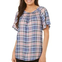 Juniper + Lime Womens Plaid Short Sleeve Top