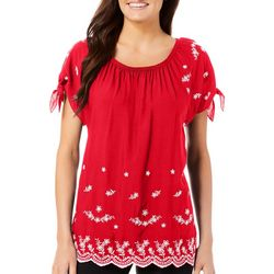 Juniper + Lime Womens Embroidered Tie Sleeve Top