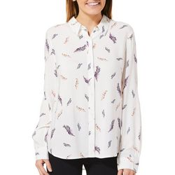Juniper + Lime Womens Printed Feather Button Down Top