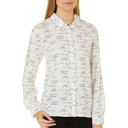 Juniper + Lime Womens Script Button Down Top