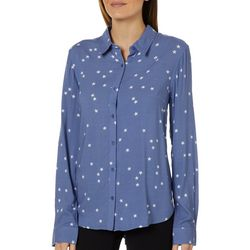 Juniper + Lime Womens Star Print Button Down Top