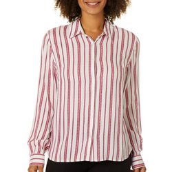 Juniper + Lime Womens Candy Striped Button Down Top