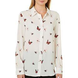 Juniper + Lime Womens Butterfly Print Button Down Top
