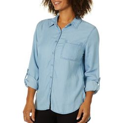 Juniper + Lime Womens Chambray Button Down High-Low Top
