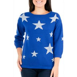 NY Collection Womens Metallic Star Sweater