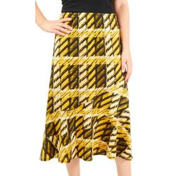NY Collection Womens Plaid Diagonal Seam Skirt