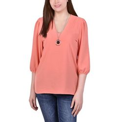 NY Collection Womens Balloon Sleeve Necklace Blouse