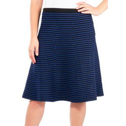 NY Collection Womens Stripe Flared Sweater Skirt