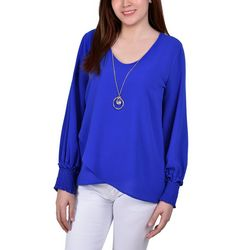 NY Collection Womens Overlapping Hem Necklace Top
