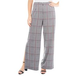NY Collection Womens Plaid Wide Leg Side Slit Pant