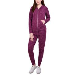 NY Collection Womens Zip Front Hoodie & Joggers Set