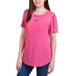 NY Collection Womens Mesh Flutter Sleeve Blouse