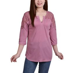 NY Collection Womens Lace Shoulder Top
