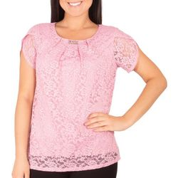 NY Collection Womens Lace Tulip Sleeve Tee