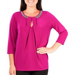 NY Collection Womens Beaded Keyhole Top