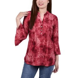 NY Collection Womens Pleated Tie Dye Blouse