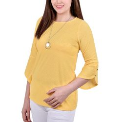 NY Collection Womens Tulip Sleeve Necklace Top