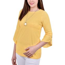 Womens Tulip Sleeve Necklace Top