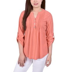 NY Collection Womens Swiss Dot Pleated Front Blouse