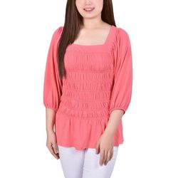 NY Collection Womens Smocked Square Neck Blouse