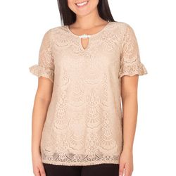 NY Collection Womens Ruffle Sleeve Lace Keyhole To