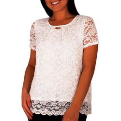 NY Collection Womens Jewel Neck Lace Top