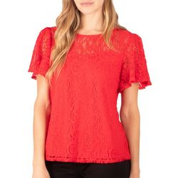 NY Collection Womens Short Flutter Sleeve Lace Top