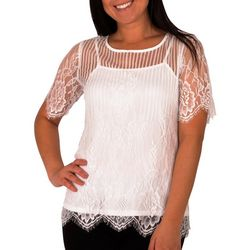 NY Collection Womens Jewel Neck Lace Top With Cami