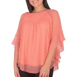 NY Collection Womens Smocked Bell Sleeve Peasant T