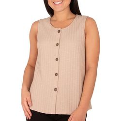 NY Collection Womens Sleeveless Button Front Top