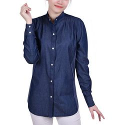 NY Collection Womens Puff Sleeve Denim Shirt