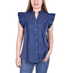 NY Collection Womens Ruffle Sleeve Button Shirt