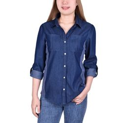 NY Collection Womens Side Rib Insets 3/4 Sleeve Denim Blouse
