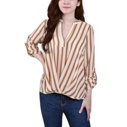 NY Collection Womens Mandarin Collar Hi Low Hemline Blouse