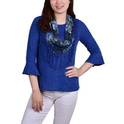 NY Collection Womens Bell Sleeve & Scarf Top