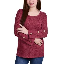 NY Collection Womens Rib Knit Button Long Sleeve Top