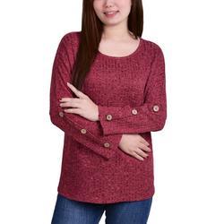 Womens Rib Knit Button Long Sleeve Top
