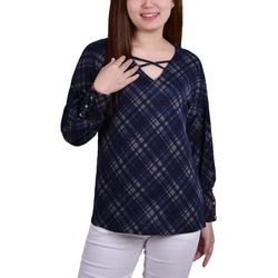 NY Collection Womens Plaid Criss Cross Neckline Top