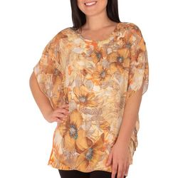 NY Collection Womens Floral Rhinestone Poncho