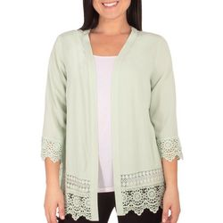 Womens Crochet Trimmed Long Cardigan