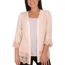 NY Collection Womens Crochet Trimmed Long Cardigan