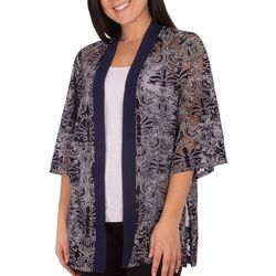 NY Collection Womens Burnout Kimono