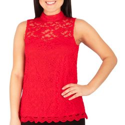 NY Collection Womens Lace Sweetheart Seam Top