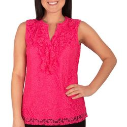 NY Collection Womens Lace Ruffle Front Top