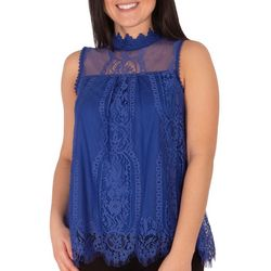 NY Collection Womens Sheer Yoke Scalloped Hem Top